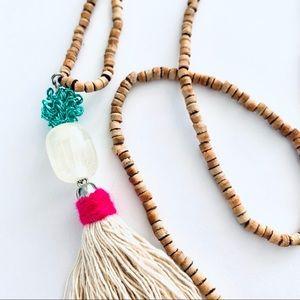 STIX+STONZ Wood Bead+Tassel Necklace - Handmade